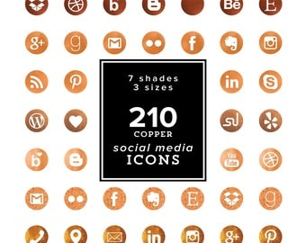 HUGE Copper Social Media Icons Set - 210 png files - Copper Foil Icons - Copper Foil Cliparts- 7 color tones 3 sizes, Social Media Icons