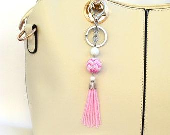 Pink bag charm Boho bag charm Tassel  Beaded  Keychain Beaded Tassel Keychain Key Fob keyring Handmade Keychain womens gift
