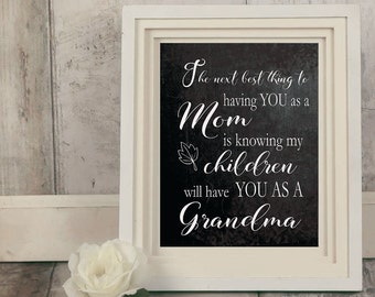 Gift for Grandma, Next Best Thing, Grandmother Gift, Gift for Grandmother, Last Minute, Grandma Printable, Gift Ideas