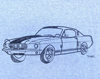 Shelby Mustang Tee Shirt- Shelby Mustang Gift- Mustang Tee Shirt- Mustang Gift- Muscle Car Tee- Classic Car Tee- Hand Drawn