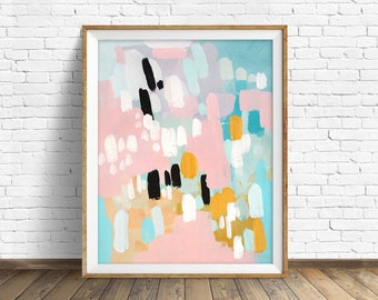 "colorful abstract wall art, large abstract wall art, pastel colors, abstract painting, instant download printable art - ""Wandering Hearts"""