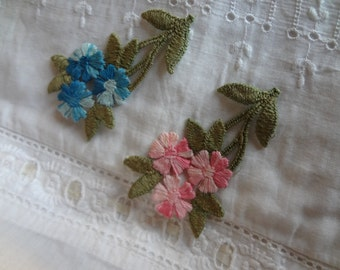 Applique 1960's Sew-On Blue or Pink Floral Dead Stock Never Used