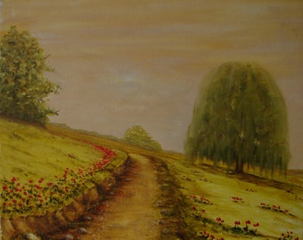 A road between poppy oil painting through the mountain. Original mountain landscape. Painting oil on cotton fabric