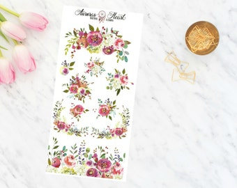 She blooms flowers soft watercolor planner stickers boho