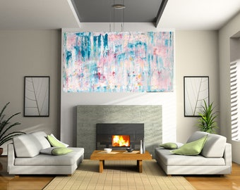 "Large Acrylic painting original  abstract wall art canvas art modern art  48""x24"""
