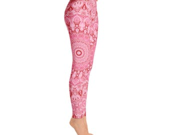 Pink Mandala Yoga Pants - Pink Leggings Gifts for Her, Trendy Leggings for Women, Custom Leggings, Handmade Yoga Pants and Capris