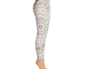 Mid Rise Womens Pattern Leggings - Printed Leggings Tights, Colorful Mandala Yoga Pants
