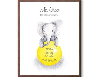 Personalized Baby Stat, Baby Elephant, Yellow, Custom Birth Stat, Watercolor print, EB1005
