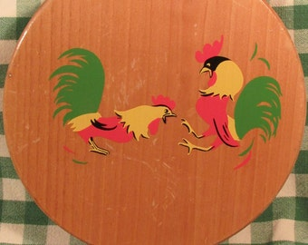 Vintage Wood Hamburger Press with Rooster and Hen Design, Wooden Burger Patty Press That Can Hang on Wall, Rooster Folk Art, Chicken Décor
