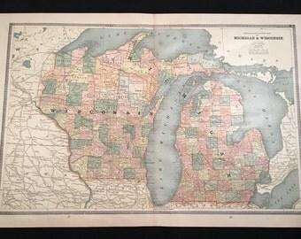 Vintage michigan map Etsy