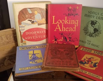 Vintage and Antique Children's School Book Set, Seven (7) Illustrated Grade School Readers