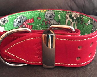 Red Leather Collar with Christmas Dogs on Green Fabric with Sparkles