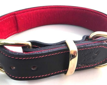 Black Leather Dog Collar with Soft Red Suede Inner Lining & Red Stitching