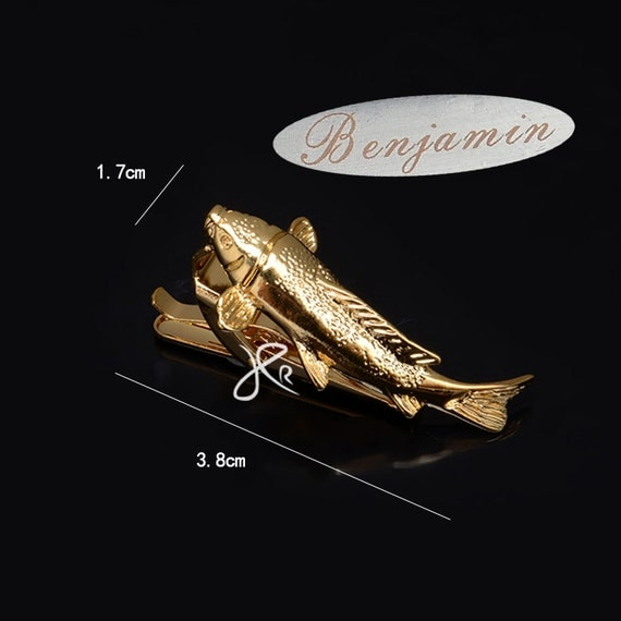 personalized tie clip,Gold Fish Tie Clip , Fish Tie Bar ,men's fashion,gent's fashion ,Mens Fisherman Gifts  ,Gifts for Dad, Rustic Wedding