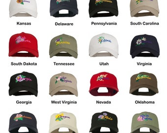 USA State Flower Embroidered Cap