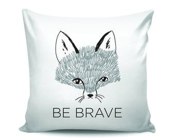 Be Brave Woodland Nursery Modern Decorative Throw Pillow with Fox Print