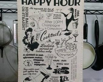 Happy Hour Vintage Menu Bar Towel
