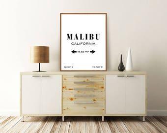 MALIBU PRINT, Malibu California, Malibu Poster, Malibu Map Print, California Map, Typography Print, Printable Art, Minimalist Poster