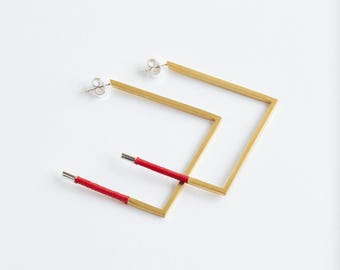 Gold Plated Square Shaped Fortune Earrings
