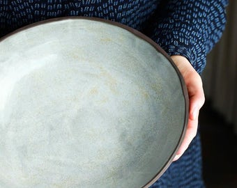 Organic white farmhouse pottery bowl medium size
