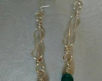 Sale, turquoise earrings, celtic knot earrings, gift, dainty earrings, silver earrings, celtic jewelry, simple jewelry, wire wrap jewelry