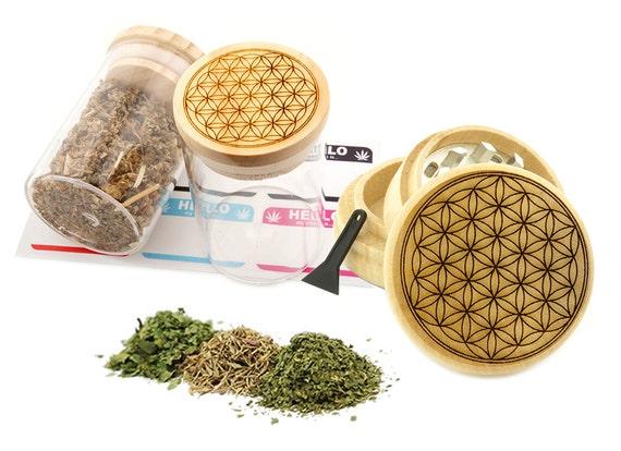Flower of Life Engraved Premium Natural Wooden Grinder & Wood Lid Glass Jar Gift Set # GS103116-46