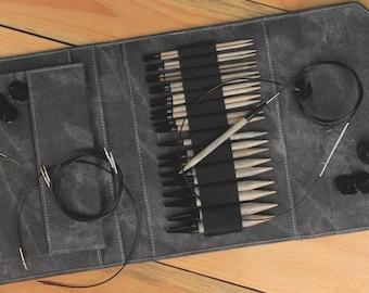 Lykke Interchangeable 5 Inch Deluxe Birch Wood Circular Knitting Needle Set - Grey or Black Case  SALE!
