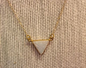 Moonstone Druzy & Gold Vermeil Necklace