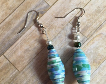 Teal/Multicolored Paper Bead Earrings w/Green & White Accents