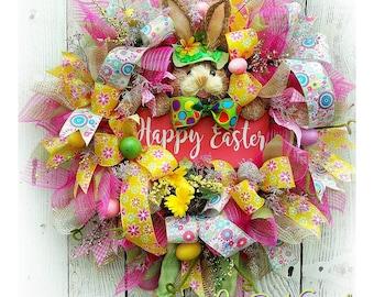 Easter Door Wreath, Easter Wreath, Bunny Wreath, Easter Bunny Wreath, Deco Mesh Wreath, Rabbit Doll, Easter Decor, Bunny, Floral Wreath