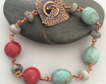 Copper Bracelet, Sponge Coral Bracelet, Crazy Horse Jasper Bracelet, Magnesite Bracelet, Wired Bracelet, Copper Toggle