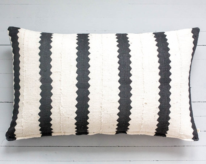 "Bintou: African Mud Cloth lumbar throw pillow 16"" x 26"""