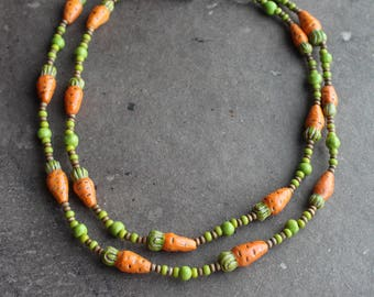 Carrot necklace Handmade ceramic beads