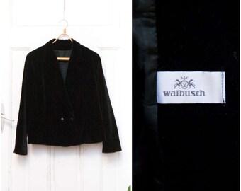 90s Womens Black Velvet Blazer Medium Large Double Breasted Deep Neck Collared Black Velvet Jacket Smart Long Sleeve Lined Office Blazer M L