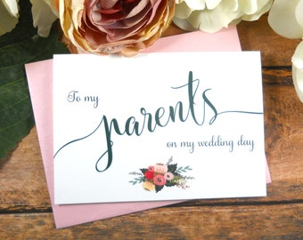 PARENTS WEDDING DAY Card, To My Father Card, To My Mother Card, Father of the Bride Card, Mother of the Bride Card, Wedding Day Cards