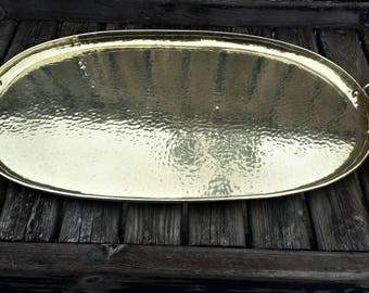 Hand Beaten LARGE Hand Made Arts and Crafts OLBURY Brass Oval Tray. c1920s