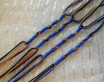 Tzitzit in Orange, Olive, Black, and Dark Blue