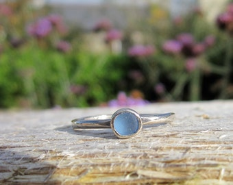18 carat white gold and Cornish sea glass engagement/special ring.