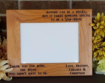 Stepmother Picture Frame, Stepmom Gift, Stepmom Gift, Stepmom of the Bride Gift, Best Stepmother Gift, mom Gift, Engraved Frame, Custom