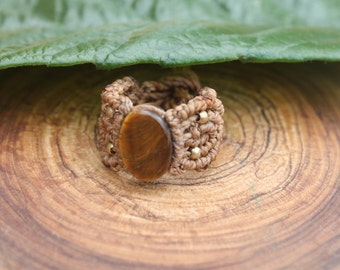 Macrame Ring with Tiger's Eye