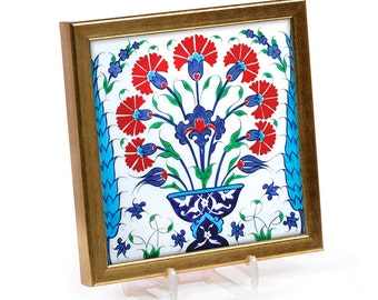 Iznik Hand Decorated Tile with Bouquets of Carnations and Tulips