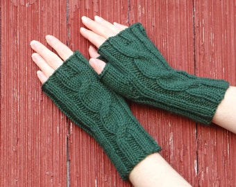 forest green fingerless gloves texting gloves knit cabled mitts, cabled gloves, fingerless mitts, wrist warmer, made in usa /made to order