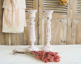Shabby Chic candle holder pink pair candle holder