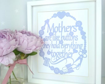 Mothers are like buttons papercut wall art, gift for mum, papercut framed art, framed wall art for mum, present for mummy, wall art gift,