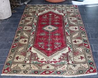 FREE SHIPPING 3,8 X 5,9  Turkish Rug, Bohemian Rug, Antique Rug, Pale Color, Boho Rug Vintage Area Rug Decorative Rug No 271
