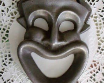 Pewter Smiling Devil Mask Wall Hanging ~ Wall Decor ~ Comedy Horned Mask ~ Amused Devil ~ Laughing Satan vintage cast pewter antique old