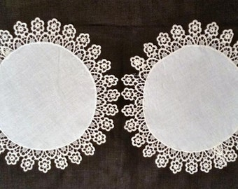 Round Handmade Lace and Linen Doily Pair, Round Doily Pair, Antique, Boudoir