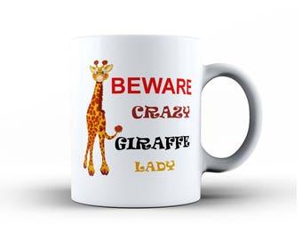 Crazy Giraffe Lady Mug & Coaster Set Mum Mom Gran Sister Wife Girlfriend birthday, Funny Coffee Tea MUG, Mothers Day Animal Cup Novelty Gift
