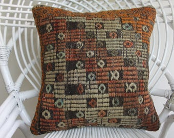 16x16 kilim oillow cover Turkish pillows 16x16 geometric pillow embroidery pillow embroidered pillow embroidered kilim pillow 2084