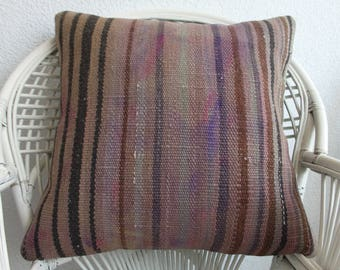 turkish kilim pillow throw pillow handwoven kilim pillow 24x24 sofa pillow decorative kilim pillow handwoven striped kilim pillow   832